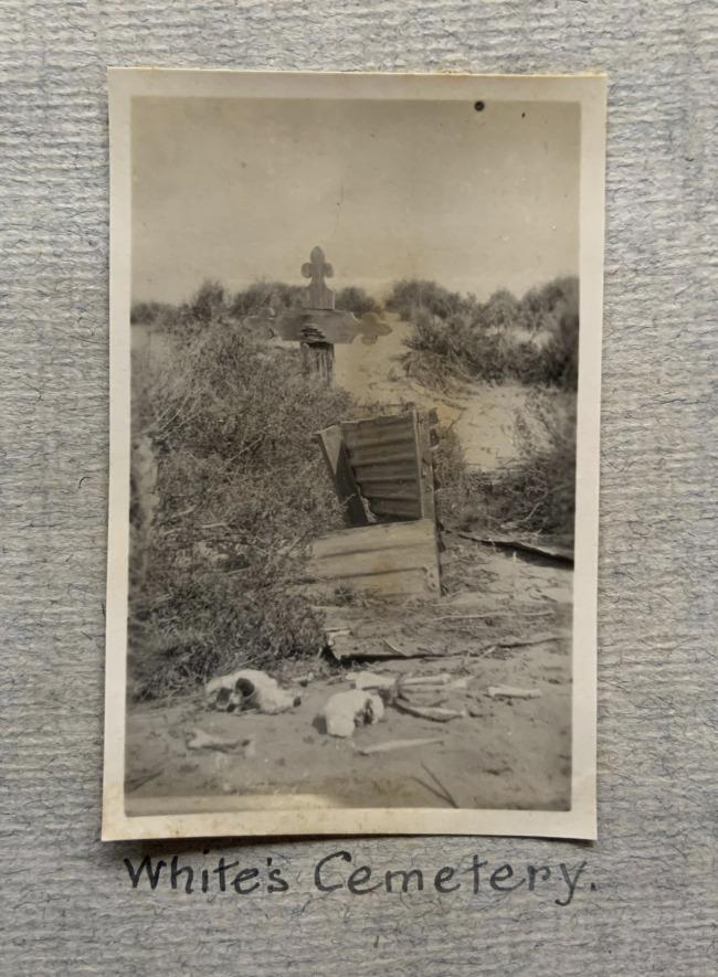"""White's Cemetery,"" 1923 in John ""Jack"" Riverstone Faviell 1922-1933 photo album"