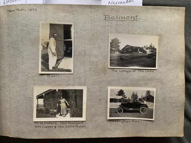 """Belmont,"" New Year, 1923 in John ""Jack"" Riverstone Faviell 1922-1933 photo album"