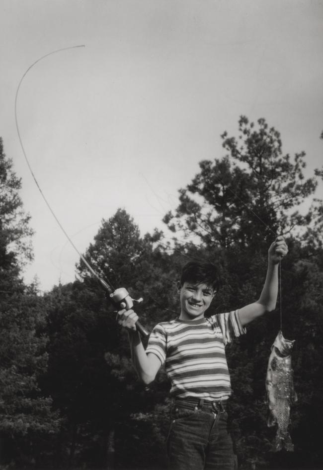 José Gonçalves (American, born 1927) 'Flávio Catches His First Fish, Denver, Colorado' Negative about 1962, print about 1977