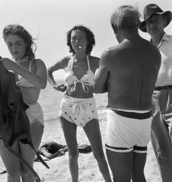 Eileen Agar (1899-1991) 'Photograph of Dora Maar, Nusch Éluard, Pablo Picasso and Paul Éluard on the beach' September 1937
