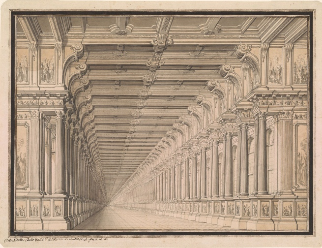 Carlo Galli Bibiena (1728 - c. 1778) 'Interior of a Gallery' 1750s