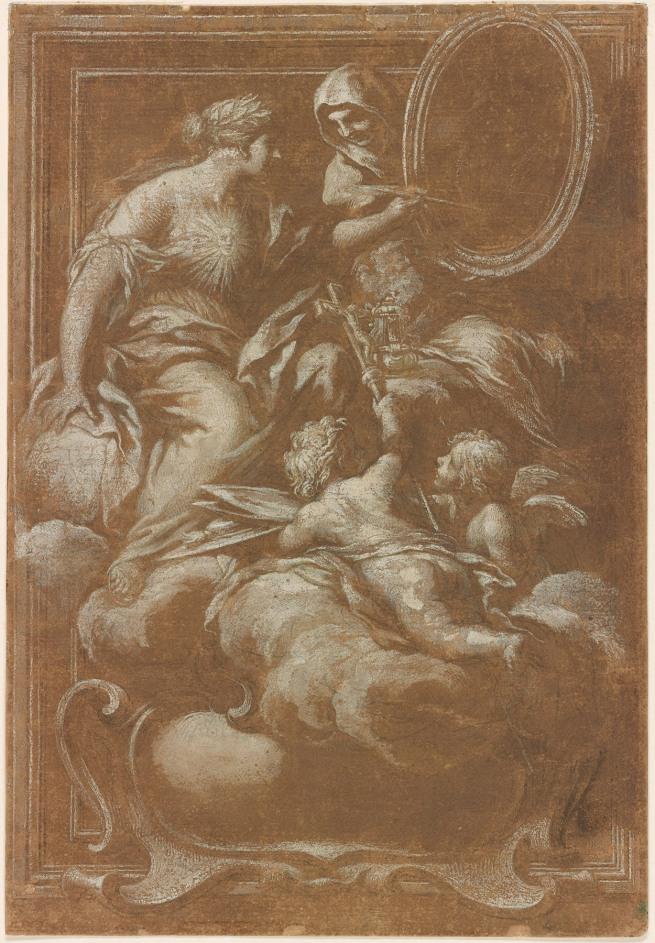 Ciro Ferri (Italian, 1634-1689) 'Fame Painting a Portrait Held by Religion' 17th century