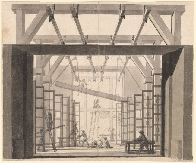 Gabriel Pierre Martin Dumont (French, 1720-1791) 'Perspective View of the Mechanical Works and Construction of a Theater. Verso: Sketch of an elevation of a colonnade' 18th century