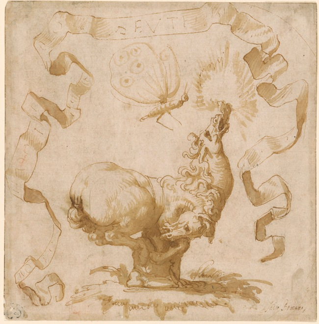 Francesco Salviati (1510-1563) 'Emblematic Design with Two-Headed Horse and Moth' c. 1550-63