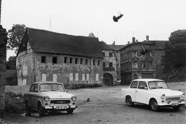 Helga Paris (German, born Poland, 1938) 'Grosse Klausstrasse Flutgasse' (Häuser und Gesichter Halle 1983-1985)