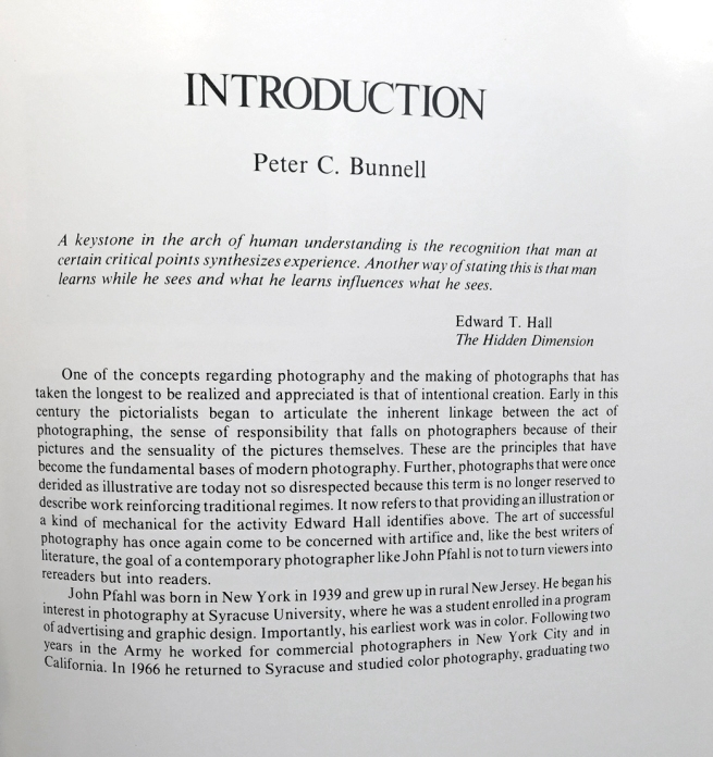 "Peter C. Bunnell. ""Introduction,"" from James Alinder (ed.,). 'Altered Landscapes: The Photographs of John Pfahl (Untitled Series, No. 26)'"