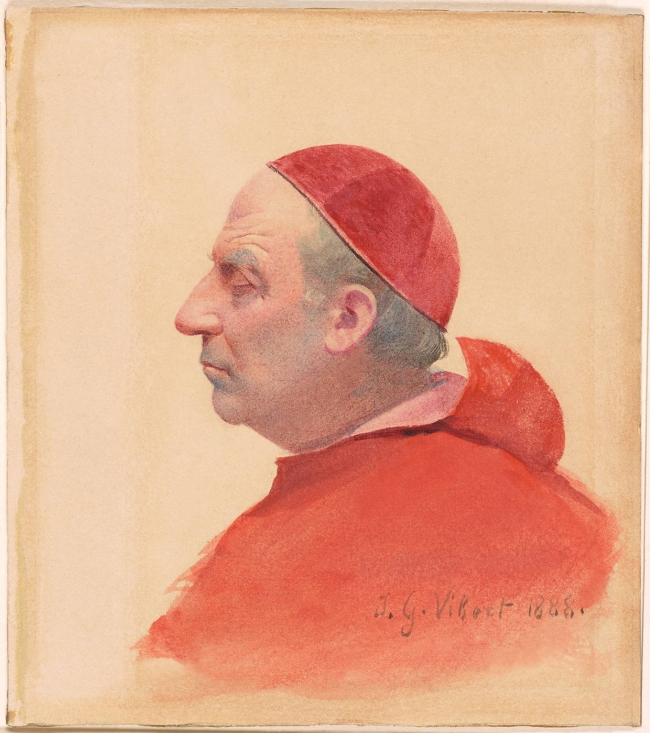 Jehan Georges Vibert (1840-1902) 'A Cardinal in Profile' 1880
