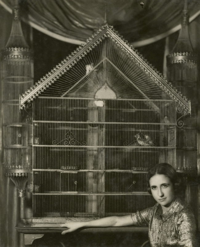 Dora Maar (French, 1907-1997) 'Portrait of Lise Deharme, at home in front of her birdcage' 1936