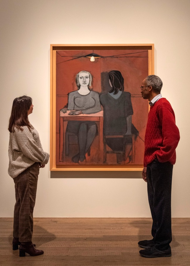Installation view of the exhibition 'Dora Maar' at Tate Modern, 2019 showing Maar's painting 'The Conversation' 1937