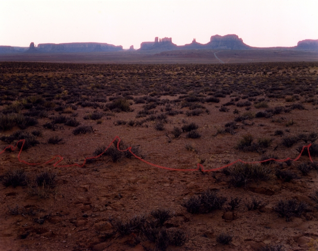 John Pfahl (American, b. 1939) 'Monument Valley with Red String, Monument Valley, Utah' 1977