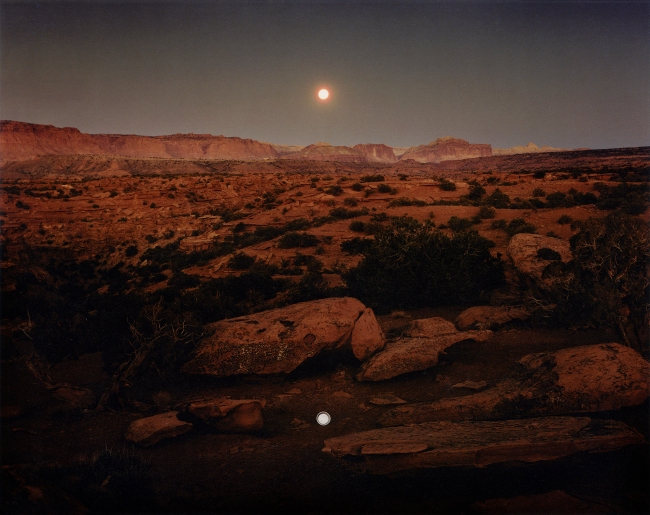 John Pfahl (American, b. 1939) 'Moonrise over Pie Pan, Capitol Reef National Park' 1977