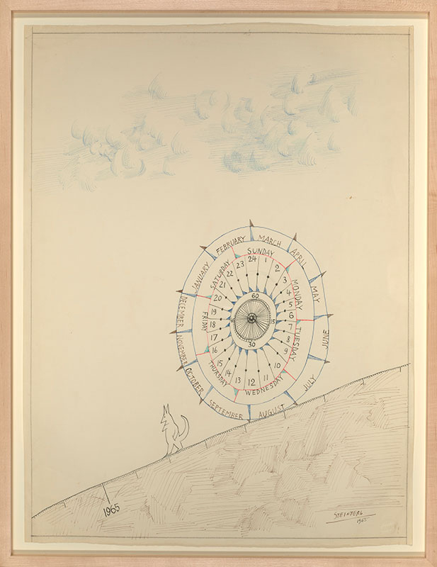 Saul Steinberg (American, b. Romania, 1914-1999) 'Untitled (Cat and wheel of time)' 1965