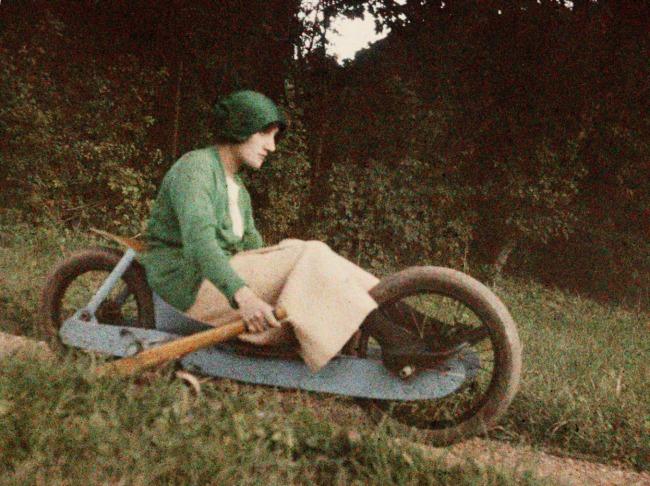 """Jacques Henri Lartigue (1894-1986) 'Simone Roussel driving the """"two-wheeled bob""""' Rouzat, France, September 1913"""