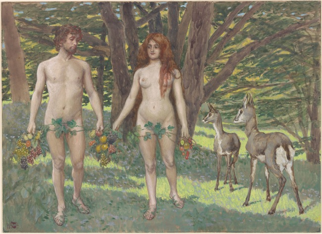 James Jacques Joseph Tissot (French, 1836-1902) 'Adam and Eve in the Garden of Eden' c. 1900-1902