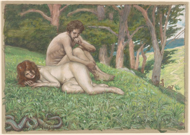 James Jacques Joseph Tissot (French, 1836-1902) 'Adam and Eve Perceive their Nakedness' c. 1900-1902