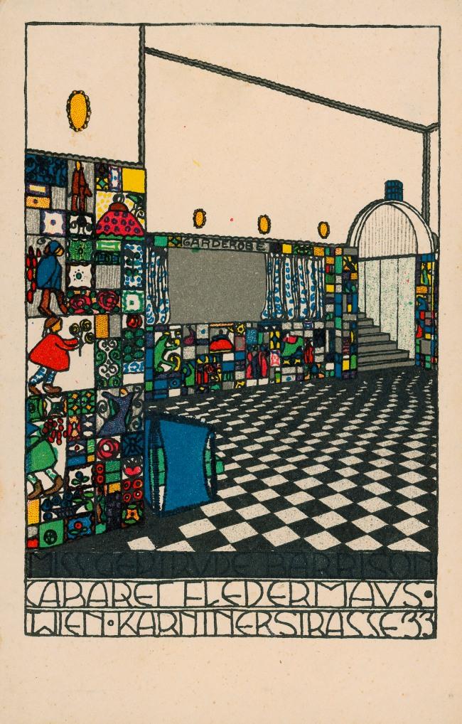 Josef Hoffmann Wiener Werkstätte Postkarte No. 74 (Interior view of the bar at the Cabaret Fledermaus) 1907