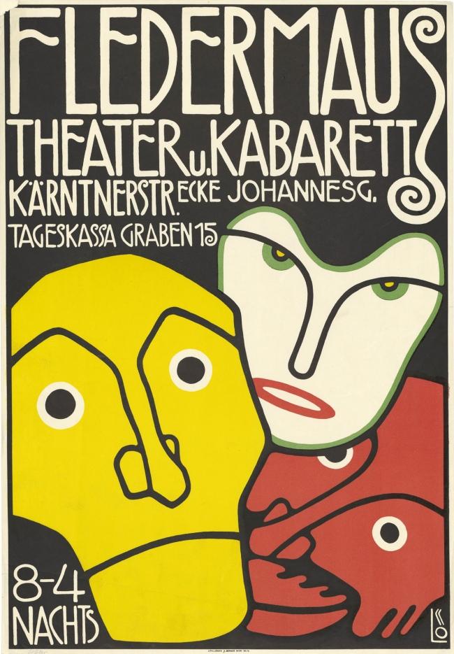Bertold Löffler, Poster for the Cabaret Fledermaus, 1907