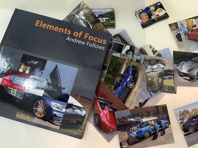 'Elements of Focus' exhibition book cover and postcards