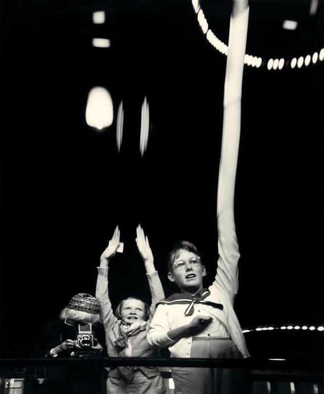 Imogen Cunningham (American, 1883-1976) 'Self-Portrait with Grandchildren in a Funhouse' 1955