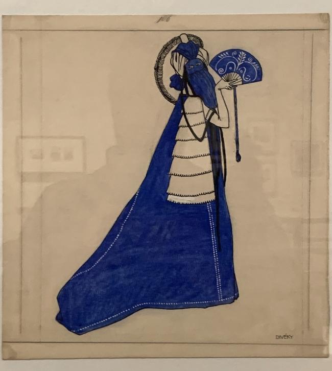 Josef von Divéky. Design for 'Blue Domino'for the Cabaret Fledermaus 1908