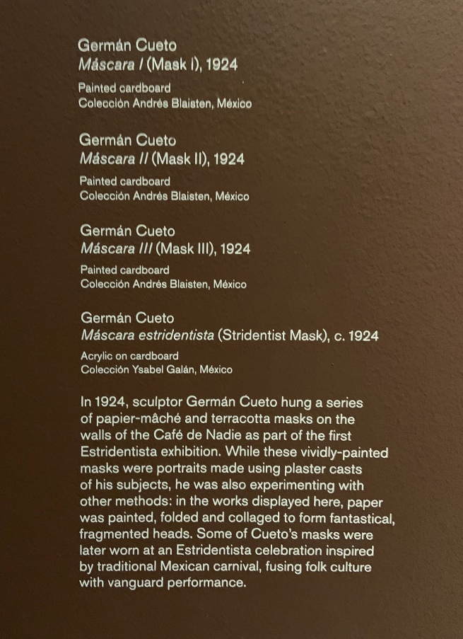 Wall text about Mexican masks