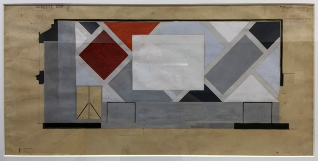 Theo van Doesburg. Final colour design for the screen wall of the Ciné-Dancing at L'Aubette 1927 (installation view)