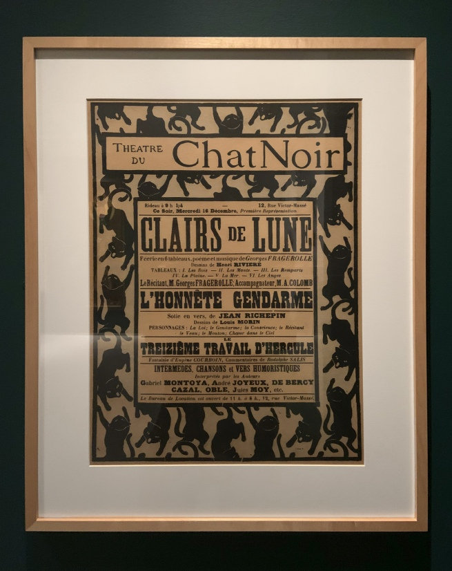 Henri Rivière (1864-1951) Poster for the performances Clairs de lune by Georges Fragerolle, L'honnête gendarme by Jean Richepin and Le treizième travail d'Hercule by Eugène Courboin (Le Chat Noir, 16 December 1896) (installation view)