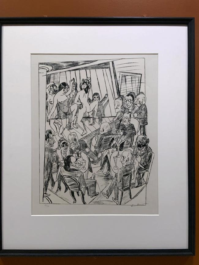 Max Beckmann. 'Nackttanz' (Striptease), from 'Berliner Reise' (Trip to Berlin) 1922 (installation view)