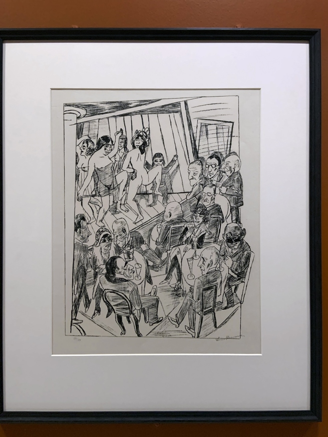 Max Beckmann. 'Nackttanz' (Striptease), from 'Berliner Reise' (Trip to Berlin) 1922 (installation view)