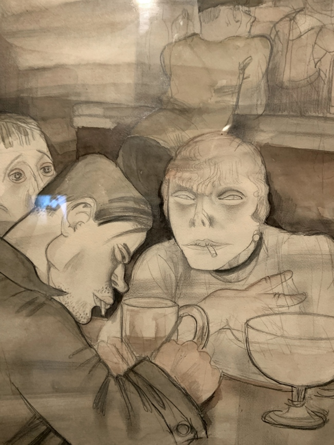 Jeanne Mammen Bierseidelbetrachtung I (The Contemplative Drinkers I) c. 1929 (installation view detail)