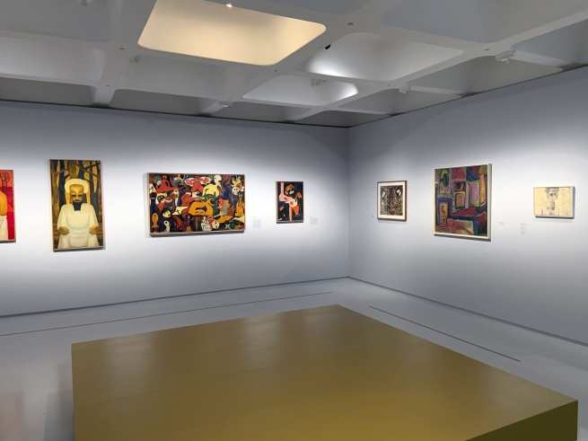 Installation view of the exhibition 'Into the Night: Cabarets and Clubs in Modern Art' at the Barbican Art Gallery, London