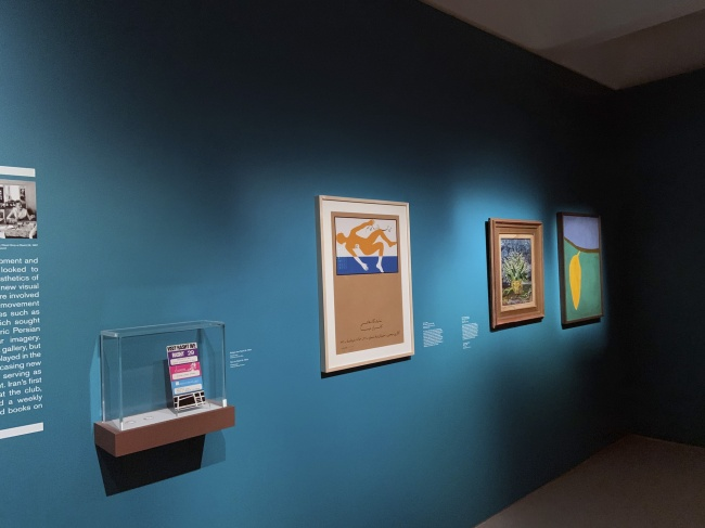 Installation view of the exhibition 'Into the Night: Cabarets and Clubs in Modern Art' at the Barbican Art Gallery