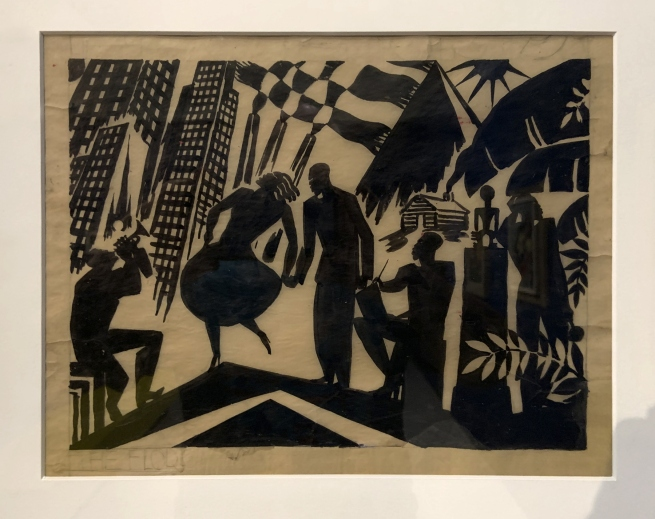 Aaron Douglas. 'Untitled (Dancers and Cityscape)' c. 1928 (installation view)