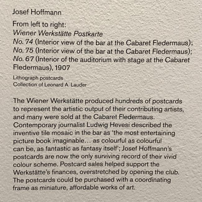 Wall text about the Weiner Werkstätte postcards