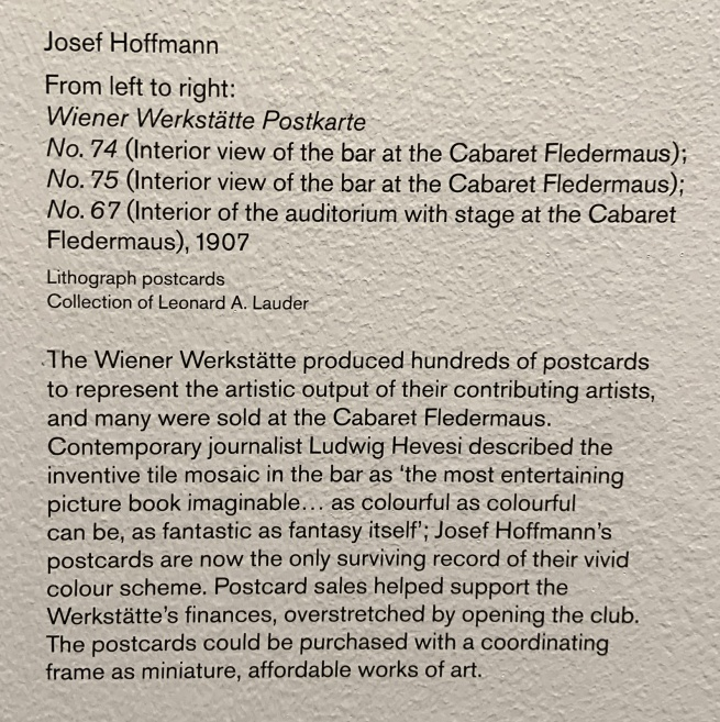 Wall text about the Weiner Werkstätte postcards