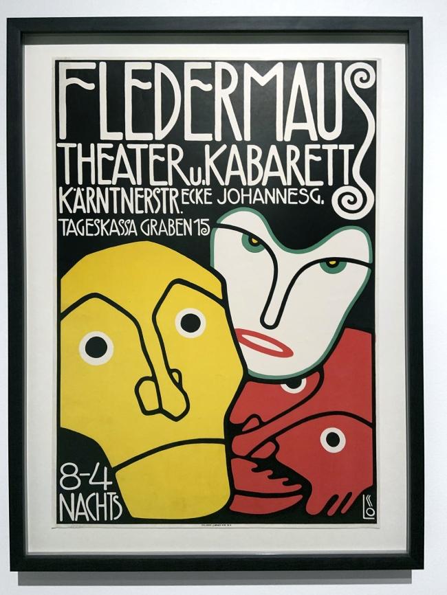 Bertold Löffler. Poster for the Cabaret Fledermaus 1907 (installation view)