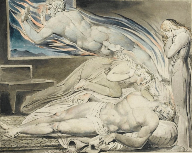 William Blake (British, 1757-1827) 'Death of the Strong Wicked Man' 1805