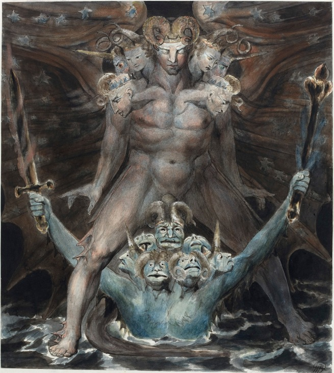 William Blake (British, 1757-1827) 'The Great Red Dragon and the Beast from the Sea' c. 1805