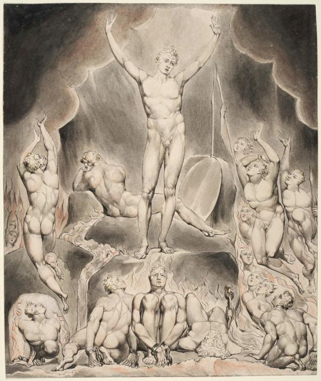 William Blake (British, 1757-1827) Illustrations to Milton's 'Paradise Lost' Plate 1: 'Satan Arousing the Rebel Angels' (Thomas set) 1807