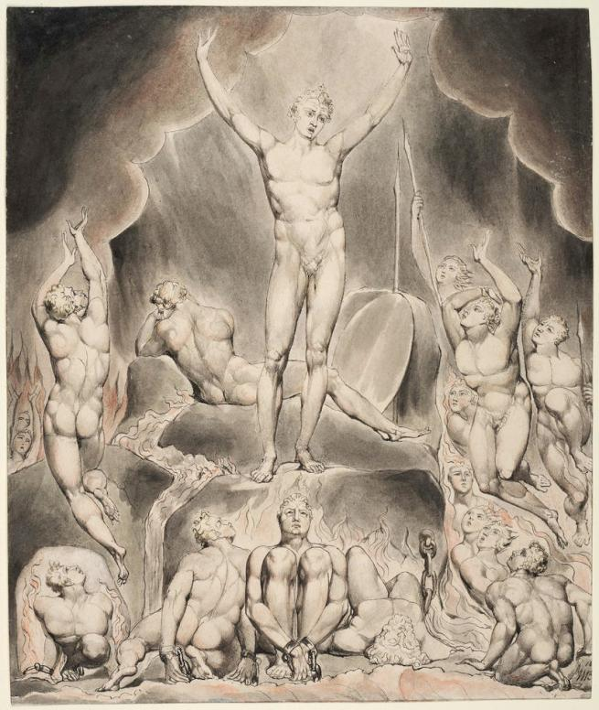 William Blake (British, 1757-1827) Illustrations to Milton's 'Paradise Lost' Plate 1: 'Satan Arousing the Rebel Angels' (Thomas set) 1807