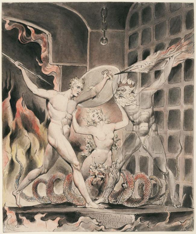 William Blake (British, 1757-1827) Illustrations to Milton's 'Paradise Lost' Plate 2: 'Satan, Sin, and Death: Satan Comes to the Gates of Hell' (Thomas set) 1807