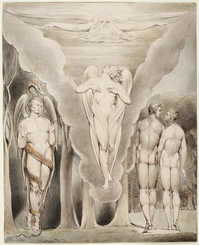 William Blake (British, 1757-1827) Illustrations to Milton's 'Paradise Lost' Plate 4: 'Satan Spying on Adam and Eve's Descent into Paradise' (Thomas set) 1807