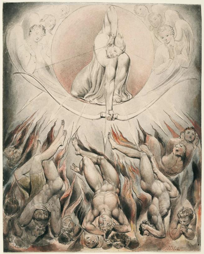 William Blake (British, 1757-1827) Illustrations to Milton's 'Paradise Lost' Plate 7: 'The Rout of the Rebel Angels' (Thomas set) 1807