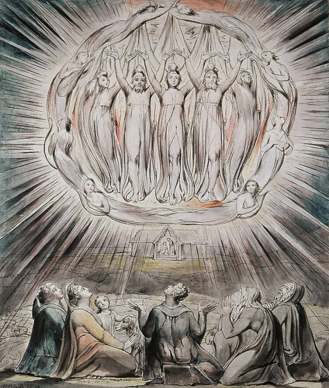 William Blake (British, 1757-1827) Illustrations to Milton's Hymn 'On the Morning of Christ's Nativity' Plate 2: 'The Angels appearing to the Shepherds' 1809 (installation view)