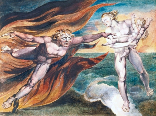 William Blake (British, 1757-1827) 'The Good and Evil Angels' 1795 - c. 1805