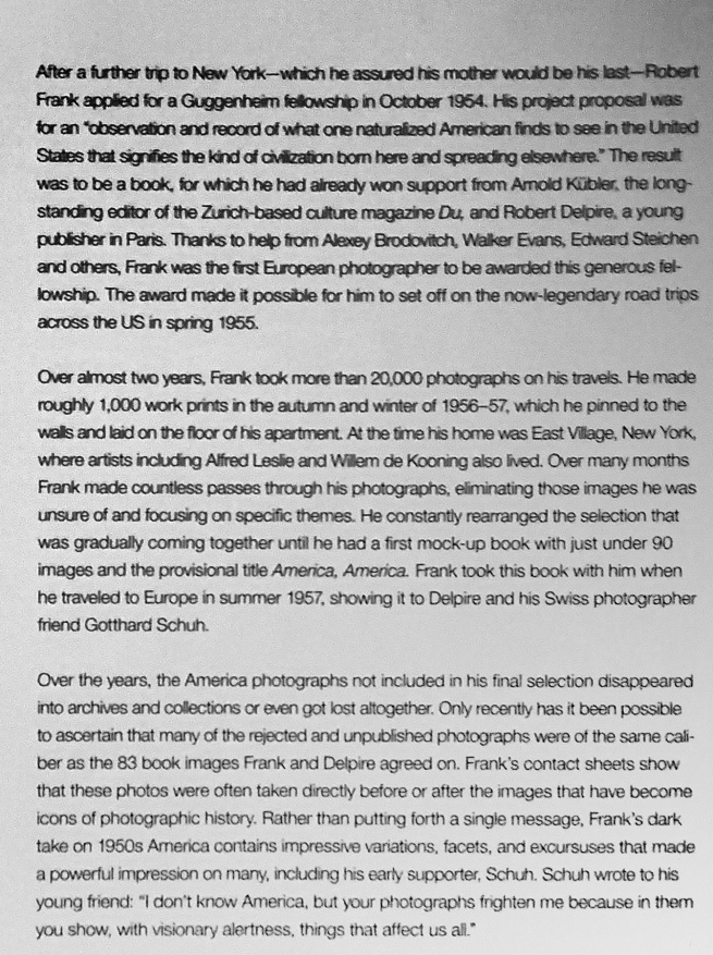 'Robert Frank. Unseen' wall text