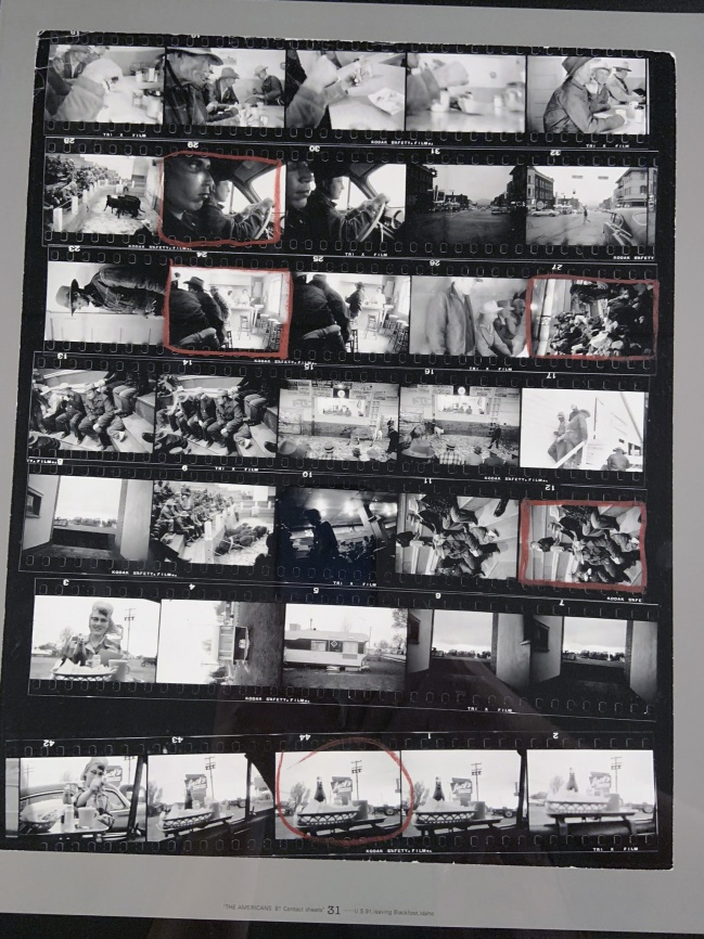 Robert Frank (American, 1924-2019) 'Contact Sheet 31 / U.S. 91, Leaving Blackfoot, Idaho' 1956 (installation view)