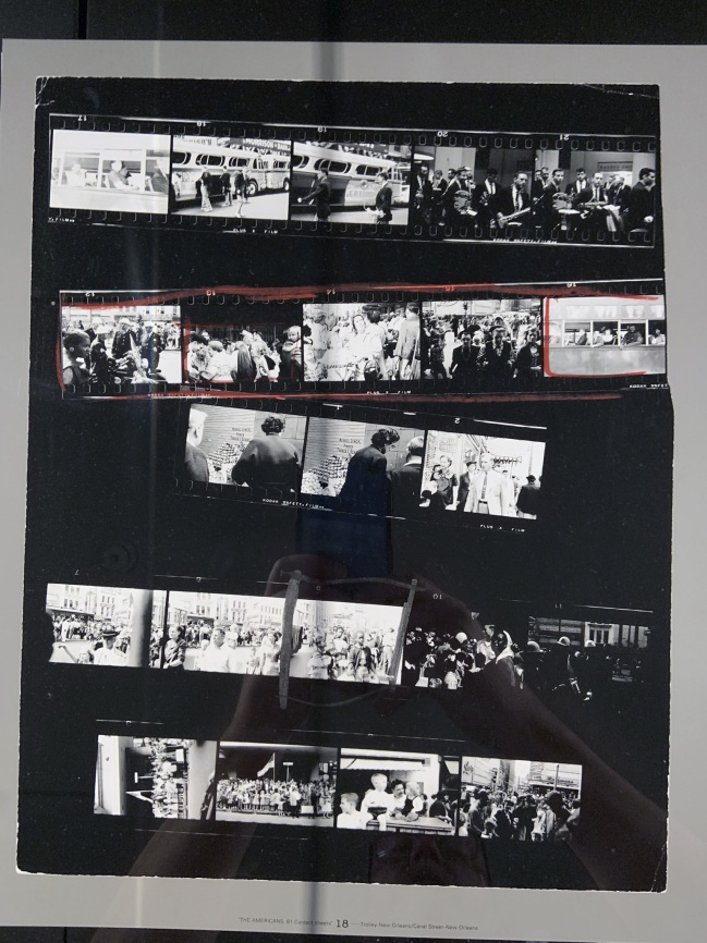 Robert Frank (American, 1924-2019) 'Contact Sheet 18 / Trolley, New Orleans' 1955 (installation view)