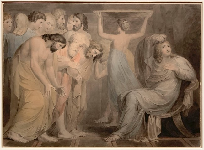 William Blake (British, 1757-1827) 'Joseph's Brethren Bowing down before him' 1784-5 (installation view)