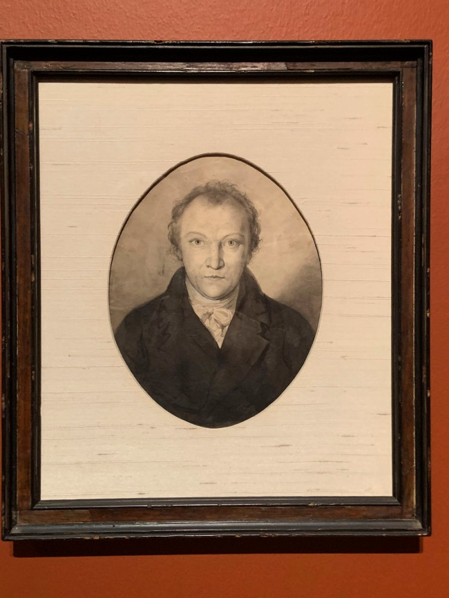 William Blake (British, 1757-1827) 'Portrait of William Blake' c. 1802 (installation view)